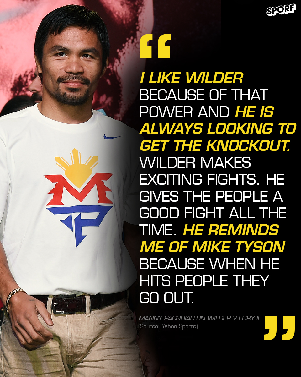 💪 A fan of his power and fighting style. 👀 Comparisons of @MikeTyson. 🗣 @BronzeBomber has the support of @MannyPacquiao ahead of #WilderFury2.