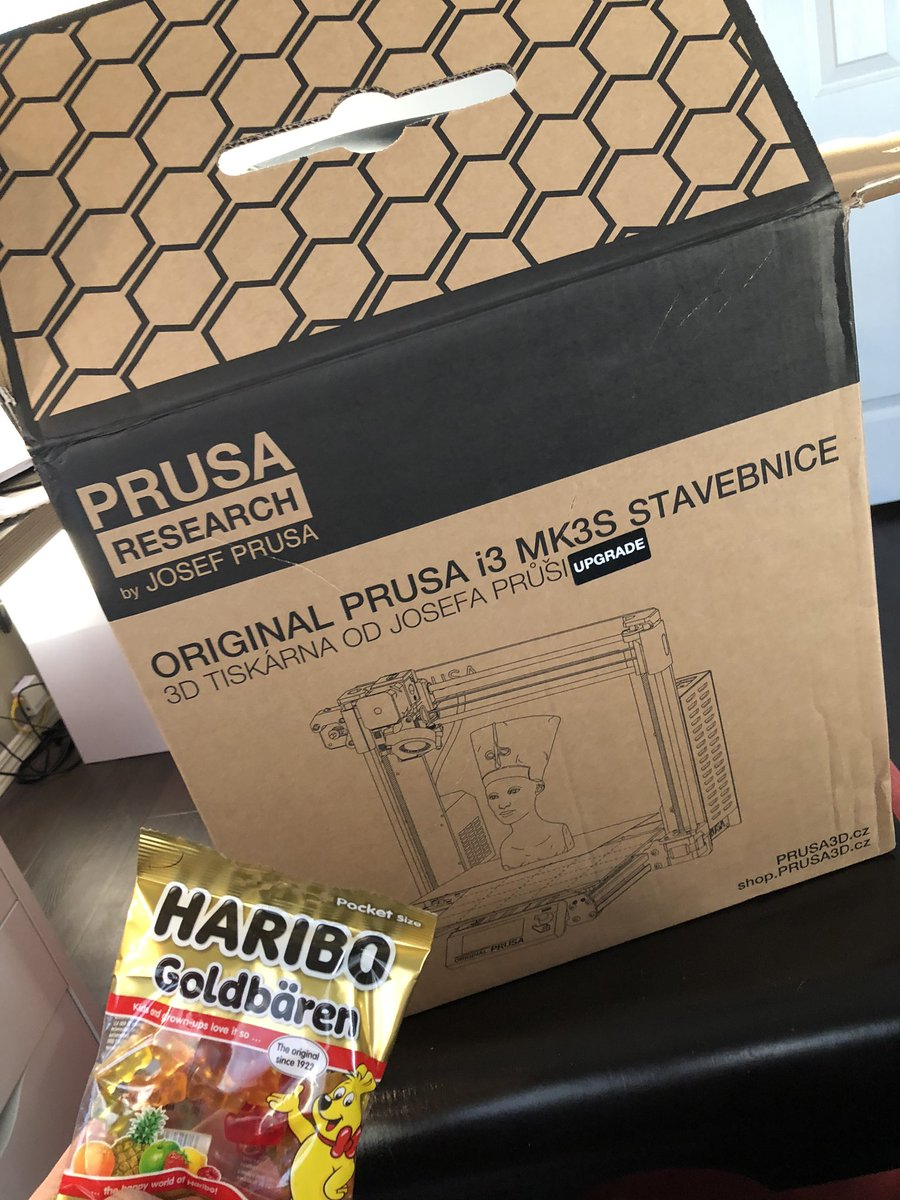 Fun fact...when you order 3D printer stuff from Prusa you get gummie bears!  Thanks for the #Haribo gummies #prusa!  Got my upgrade kit for my prusa printer!  My Prusa mk2 has been sick so hopefully this fixes it!  #3DPrinting pic.twitter.com/LNCnHDXyV4