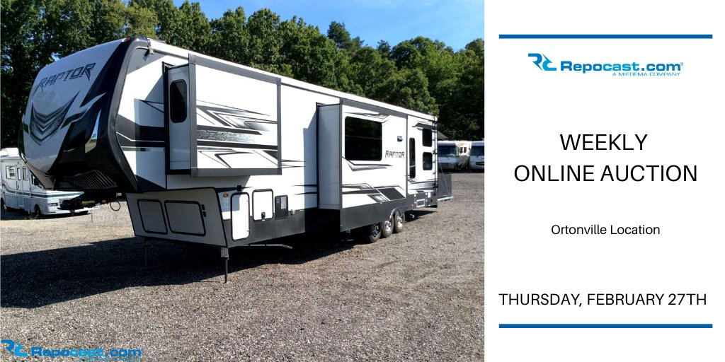 Are you ready for our Ortonville Weekly Online Auction? Thurs., February 27, 2020   https://bit.ly/2SWSEyK https://bid.repocast.com/auctions This auction features tons of great items including Cars, Trucks, Trailers, Equipment, RV's, and Much More! #repocast #onlineauction pic.twitter.com/m68scgkyUX