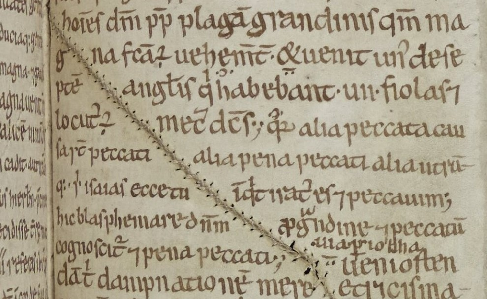 A stitch in time.  Early 12th century copy of Bede's Commentary on Revelation (MS. A.IV.28). #MedievalTwitter