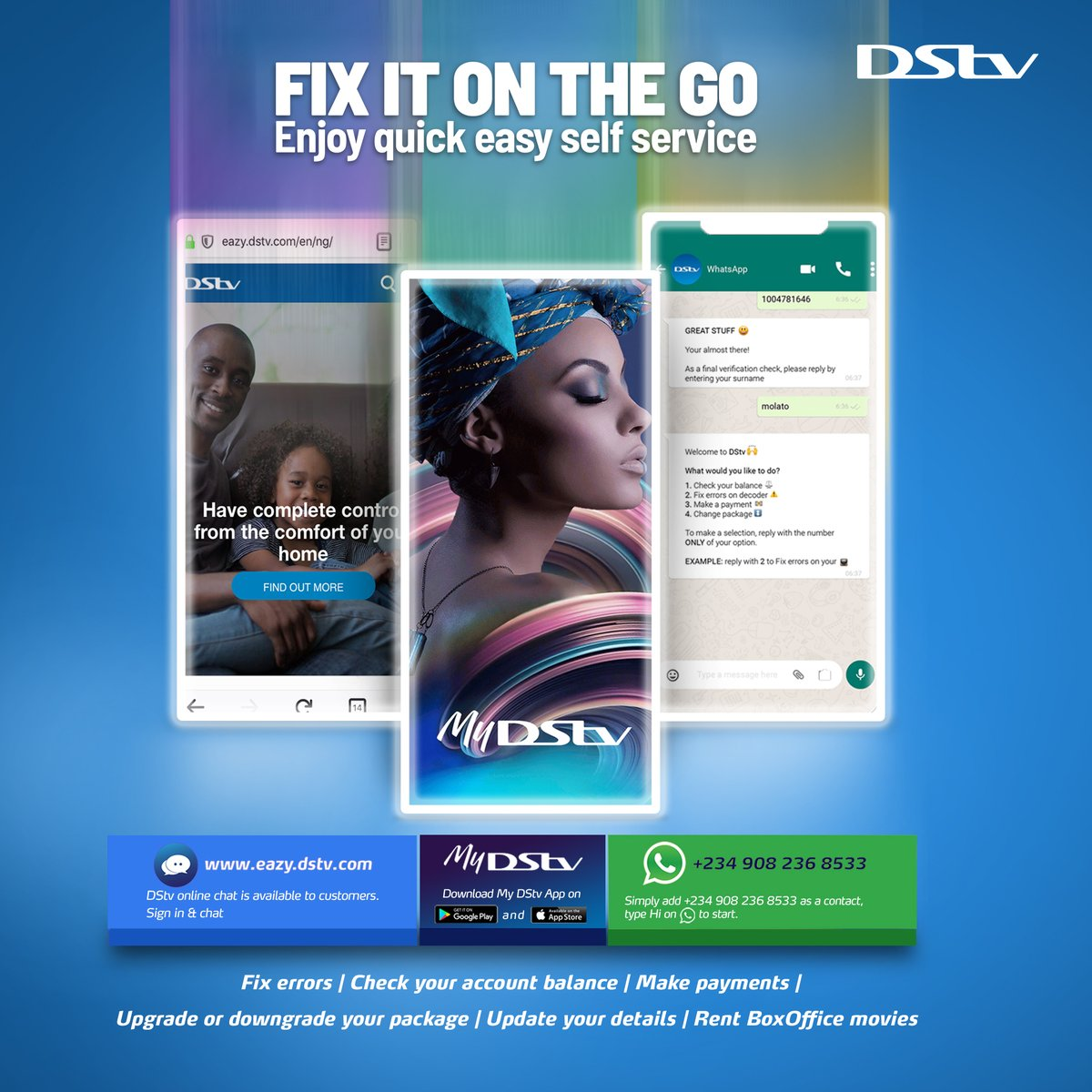 No need to stress yoursef! Fix it on the go with our DStv self service options! Download the MyDStv app and chat with us on WhatsApp +2349082368533 You can also log on to eazy.dstv.com #DStvFixItOnTheGo