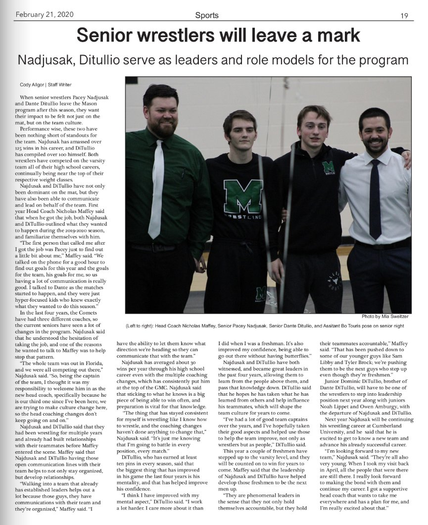 Great story by @mhschronicle sportswriter @AllgorCody about some incredible senior leaders on the @CometsWrestle team. @CoachMaffey  Read online here ➡️ http://thecspn.com/?p=53440