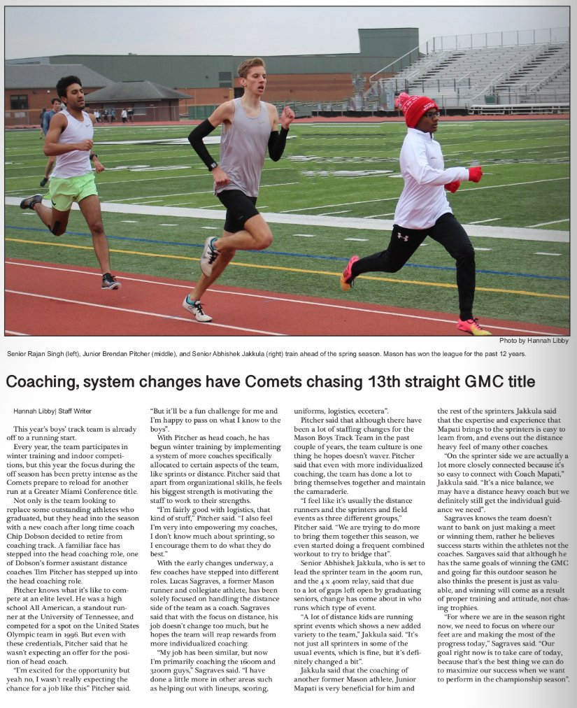 Spring sports officially kicks off next week. @MasonTrack has been dominant in the GMC. They've already been hard at work preparing for another run at GMC title. Read more about the team here in the @mhschronicle story. Link here http://thecspn.com/?p=53442