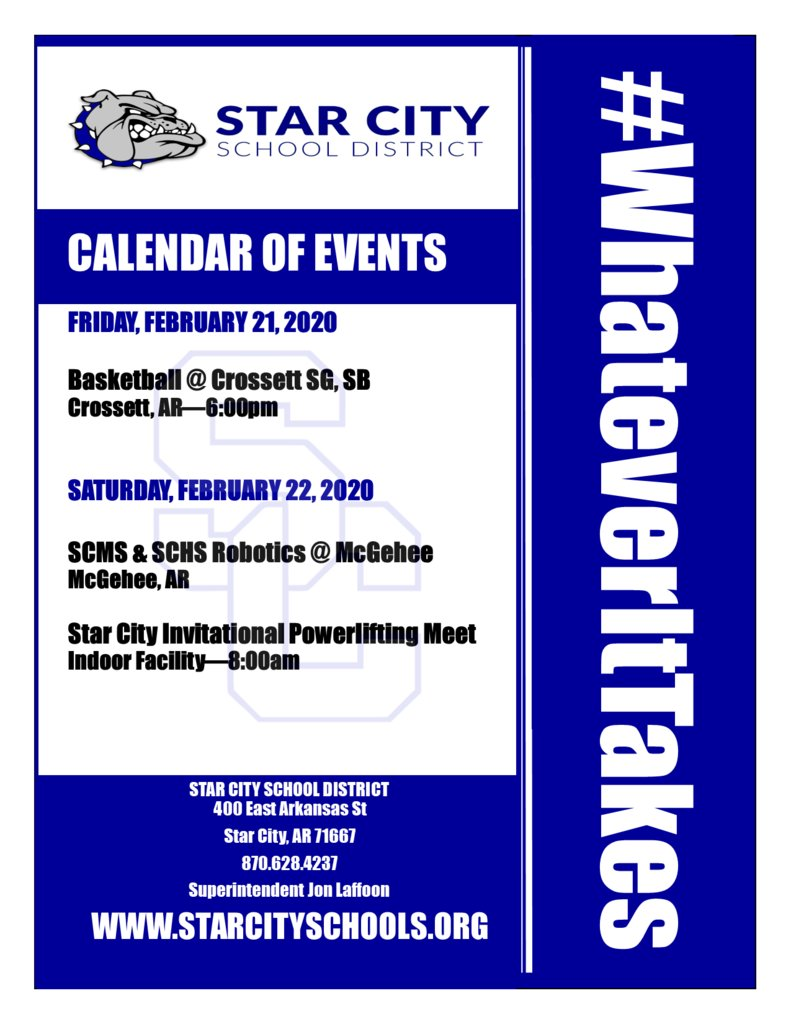 Star City School District Events for Friday, February 21, 2020. #WhateverItTakes