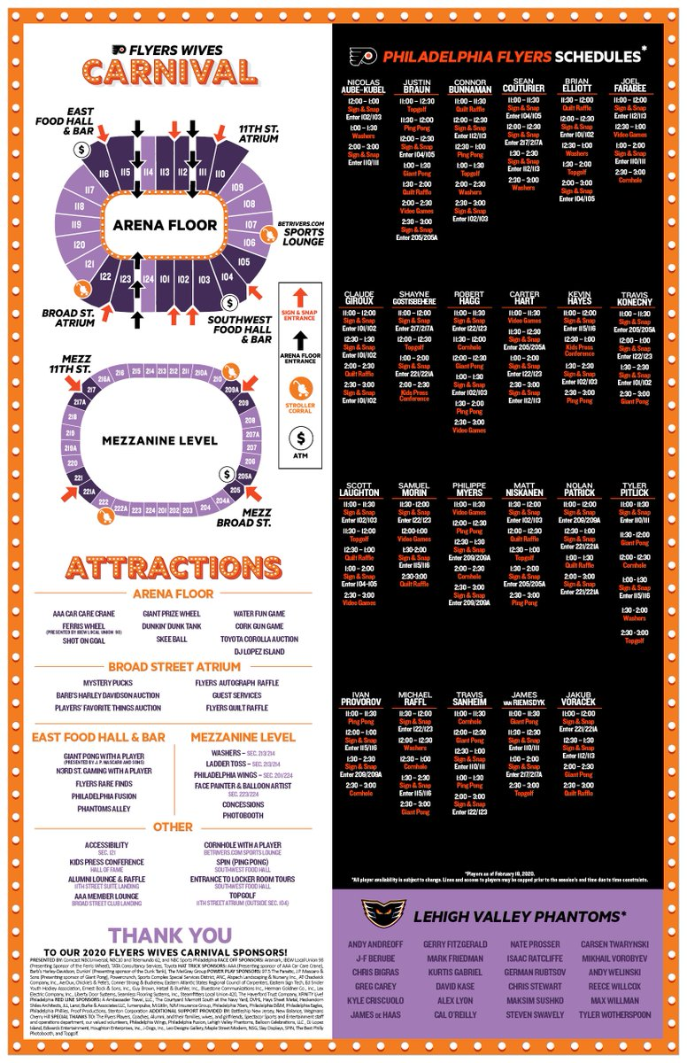 MAP out your day! Here is the 2020 Flyers Wives Carnival Map that doubles as a poster and is perfect for player autographs. Carnival attendees will receive this map and a Carnival t-shirt when they arrive at the Wells Fargo Center on Sunday. Doors open at 10:30 am. See you there!