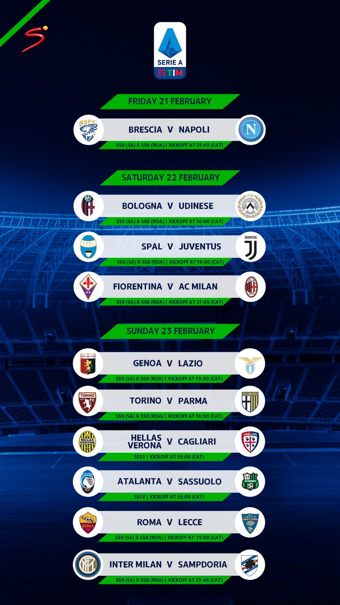 Starting tonight, #SerieA progresses with more stimulating clashes! RECONNECT NOW bit.ly/MyDStv_App #AlwaysFootballTime