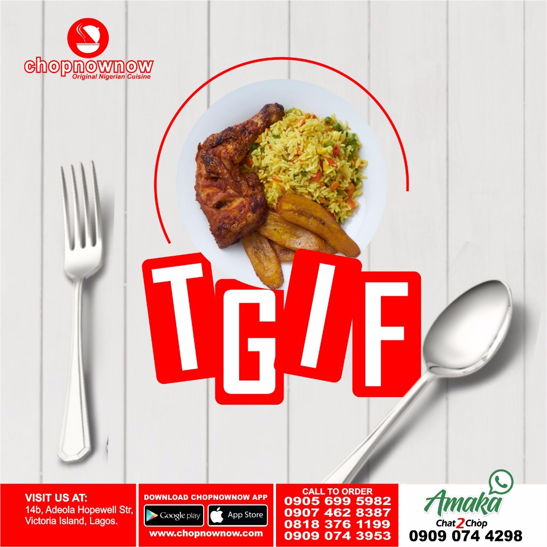 TGIF  We are excited for the weekend and can't wait for Saturday brunch at Chopnownow, what plans do you have for the weekend? #chopnownow #chat2chop #choplifegang #friday#eatinlagos #wheretoeatinlagospic.twitter.com/34KSTkFtjF
