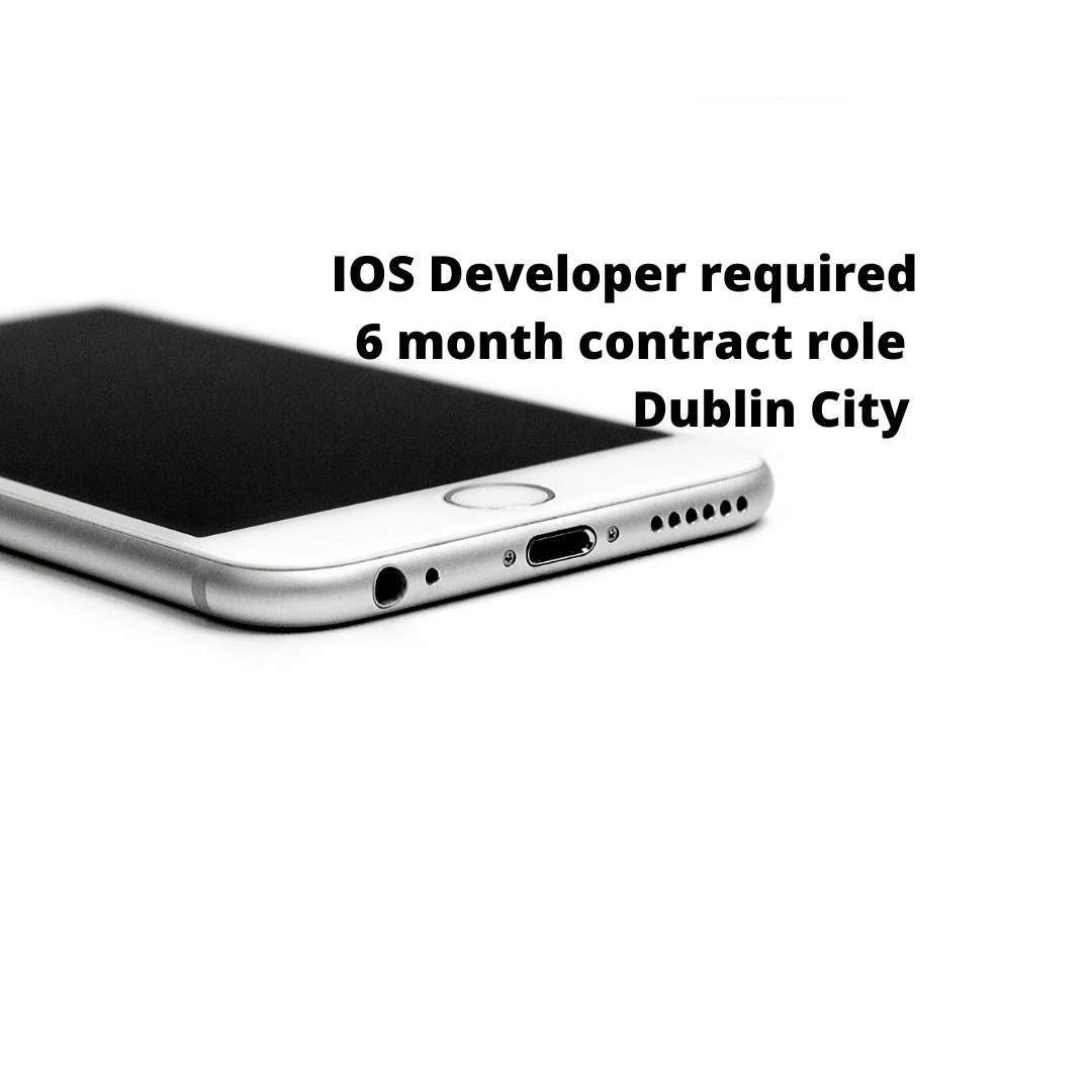 IOS Developer required for our client in Dublin city Centre   6 month contract - contact Danielle.Richardson@sabeo.com or see our online portal.. https:// sabeo.com/job/ios-develo per/  …    #iosdeveloper  Experience: 3 + years working on Native iOS apps Experience in full SDLC Experience with Swift <br>http://pic.twitter.com/NyCKzO2C8Y