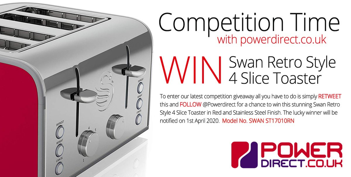 #Free to Enter @PowerDirectUK #Competition #Giveaway... Simply #RT and #Follow for a chance to #Win a Swan 4 Slice Retro Style Toaster.. Drawn 1st April 2020.. Be Lucky!