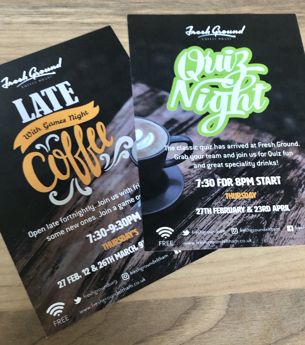 We are open late again, this Thursday 27th February at 7:30-9:30pm. With our first ever Quiz Night. Bring a team or join one, all for fun!. #communitycafe #locallyroastedcoffee #eltham #openlate #coffee #gamesnightpic.twitter.com/1lKMP0vCF9