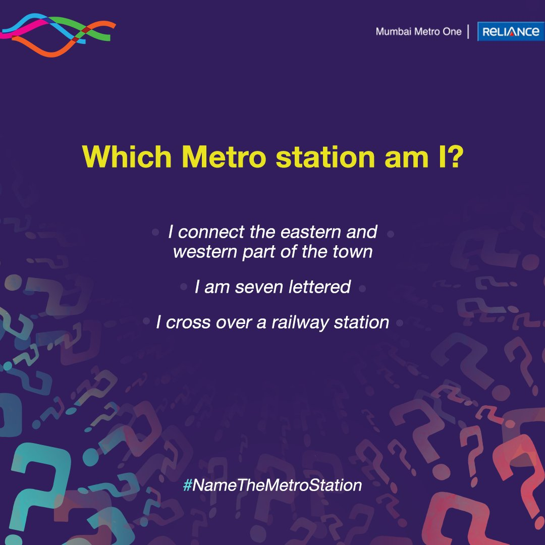 Guess the name of this Metro Station. Comment the right answer and win something exciting! All you have to do is: Follow us. Like and retweet this post. Comment the right answer. Don't forget to tag your friends! #MumbaiMetroOne #MumbaiMetro #HaveANiceDay #WhichMetroStationAmI