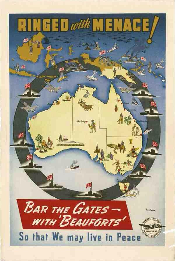 With hundreds dead to Japanese bombing in port of Darwin, fear of an invasion is spreading across Australia; government prepares population to fight back: