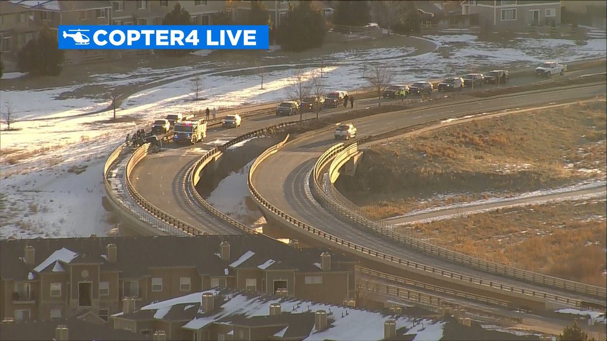 Copter4 flying over fatal crash investigation on WB Broncos Pkwy at Parker Rd. Avoid the area if possible. #cotraffic #CBS4Mornings