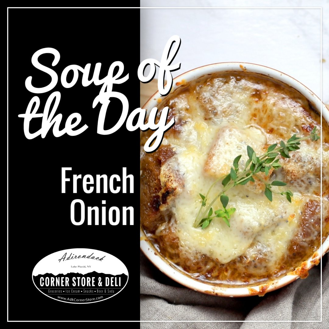 Thinking about lunch?   Warm up with a bowl of our homemade French Onion soup! #soup #lunch #dailyspecial #deli #grocery #openlate #lakeplacid #adkpic.twitter.com/3mJafx5fgG