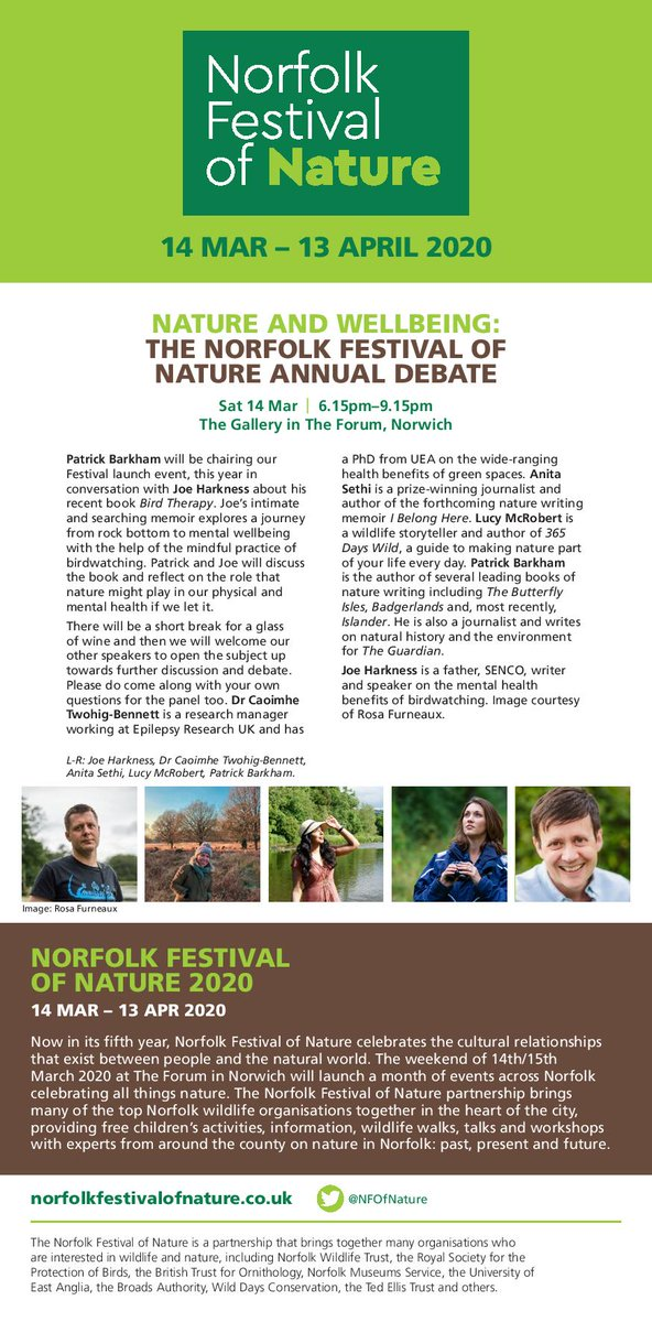Join us to explore and debate Nature and Wellbeing at this years Norfolk Festival of Nature launch event on Saturday 14th March with Joe Harkness, Caoimhe Twohig-Bennett, Anita Sethi, Lucy McRobert and Patrick Barkham. Its going to be a great evening!