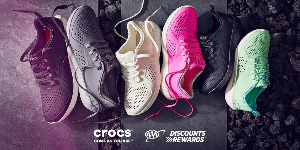 Use your #AAADiscounts @Crocs to save 25% in-store and online.   Plus, get an additional $15 off $75 or more in-store when you show your AAA membership card: