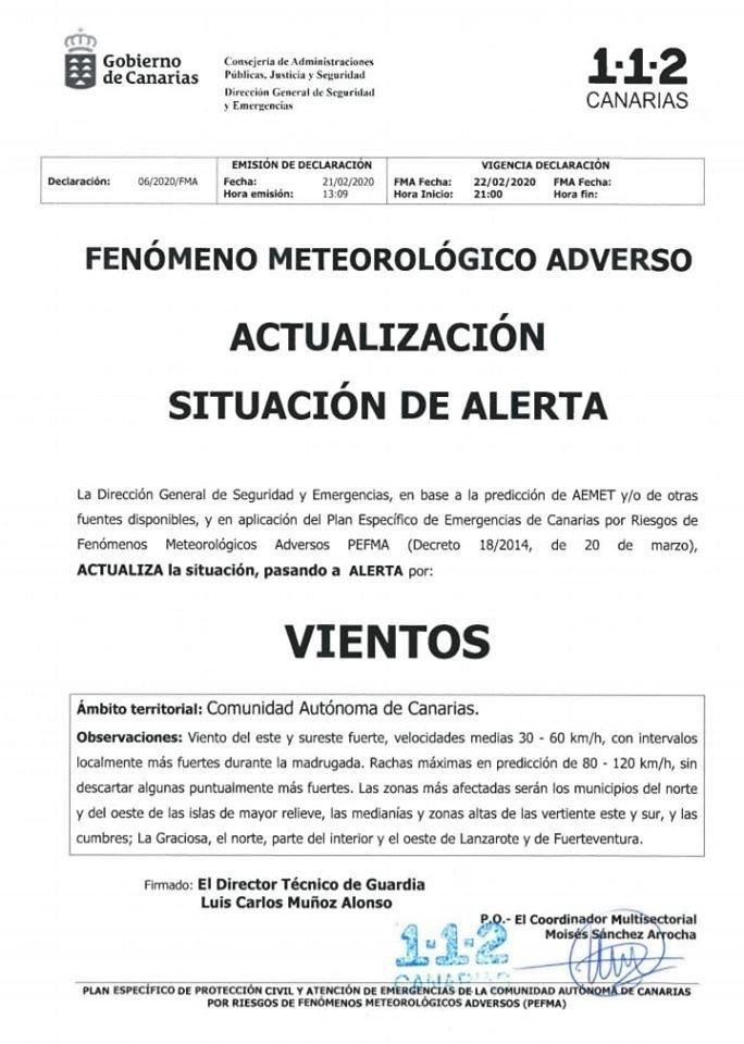 La Dirección General de Seguridad y Emergencias del Gobierno de #Canarias, declara situación de #AlertaViento, a partir de las 21:00 h. de este sábado 22 de febrero. Sigue estas recomendaciones y, ante cualquier incidencia, llama al 1-1-2.pic.twitter.com/JCSjGbCiNx