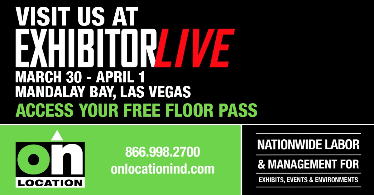 Come see us at ExhibitorLive! This is your opportunity to meet our team, demo our project management app, and discover what it means to partner with On Location for your trade show labor needs.  #onlocation #tradeshowlabor #teamwork   http://www.ExhibitorLive.com/OnLocationpic.twitter.com/qltgQ8CoUS