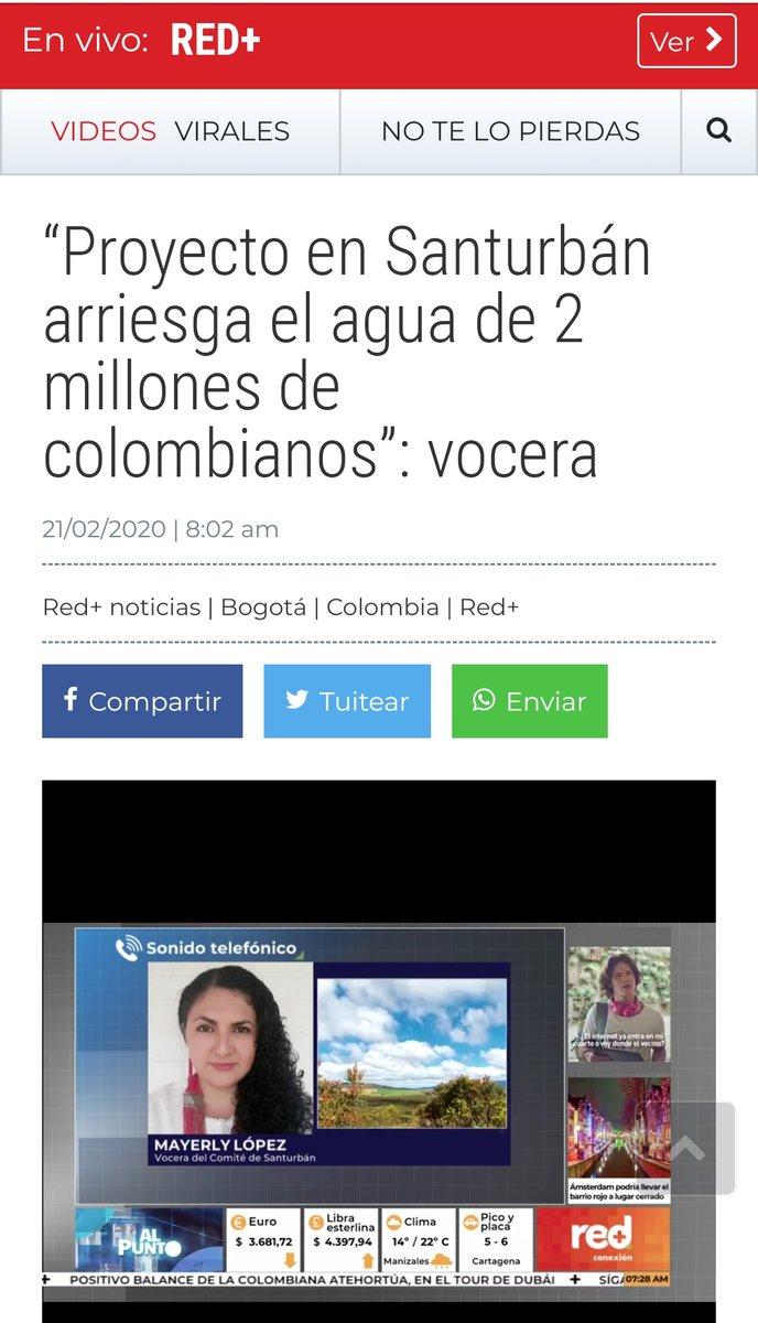 El proyecto de gran Minería de Minesa en Santurbán, arriesga uno de los ecosistemas de páramo del país y el agua de más de dos millones de Colombian@s.#SalvemosSanturbánMarcha Caravana hacía #Bogotá,1️⃣6️⃣ de marzo, ⏰ 1 pm, plaza de Bolívar. http://www.redmas.com.co/colombia/proyecto-en-santurban-arriesga-el-agua-de-2-millones-de-colombianos-vocera/…