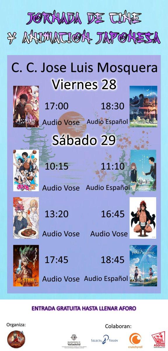 Si sois de Valladolid o este finde estaréis por aquí, os interesa:Los compañeros de @RagnarokGamesVA han hecho unas jornadas de cine y anime que son 😍.#AnimeGratis #CorreoQueHayAforo #QueremosCaillou
