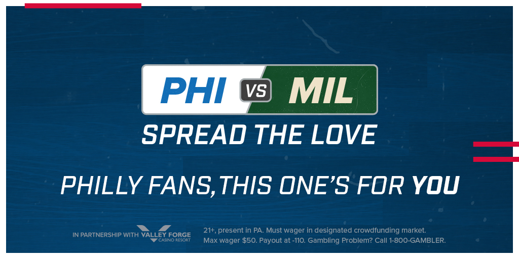 🚨 Spread The Love 🚨  This one's for you PA!  For every 1,000 Pennsylvania users who bet the 76ers spread against the Bucks, we'll add a FULL POINT to Philly's side of the line 💰  *Must be present in PA*  Download 📲 iOS: http://apple.co/2Ghrxsd  Android: http://fanduel.com/android-sportsbook …