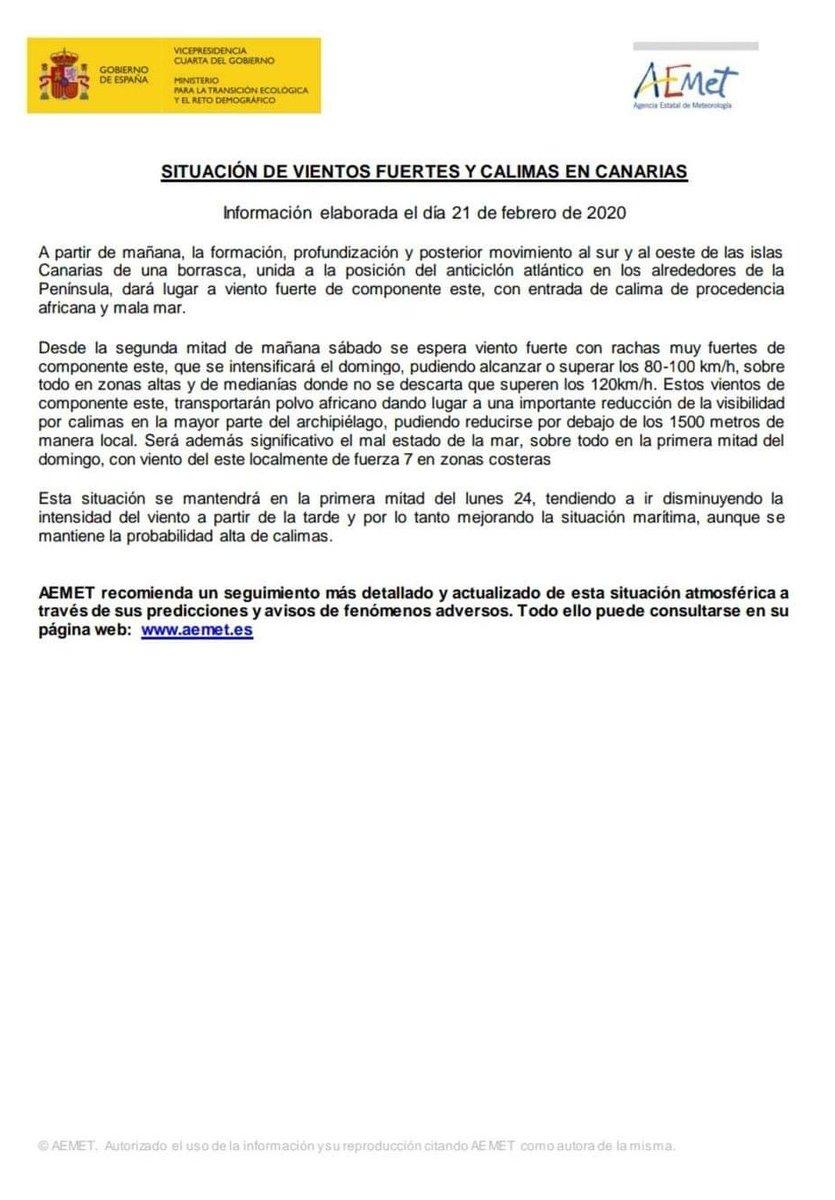 La @AEMET_Esp emite nota informativa sobre la situación meteorológica en #Canarias, prevista para las próximas horas.pic.twitter.com/Feo0t2AcQh