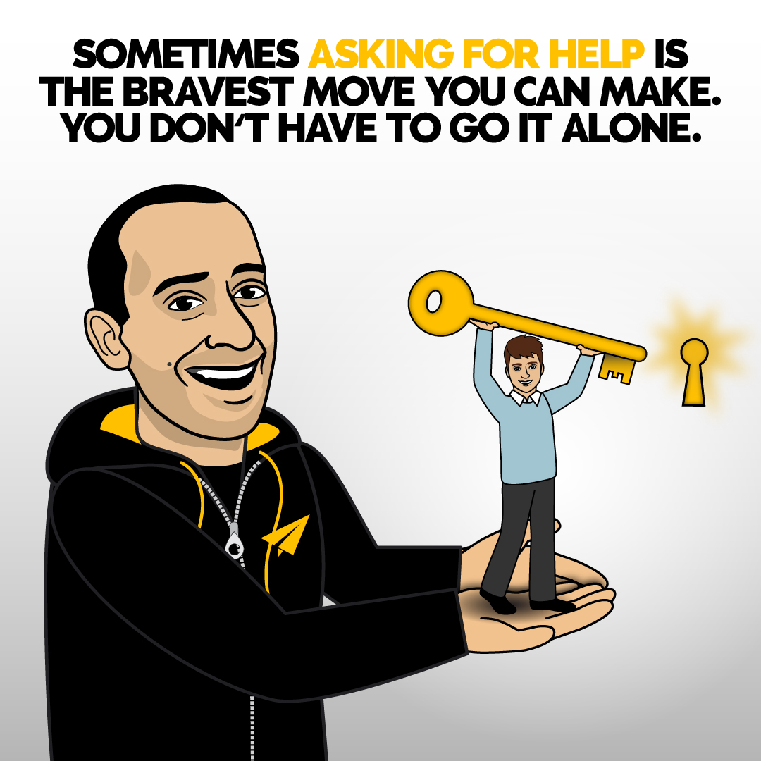 Sometimes asking for help is the bravest move you can make. You don't have to go it alone. | Do you AGREE or DISAGREE with cartoon Evan? #Believe  . #inspiration #motivation #growthmindset