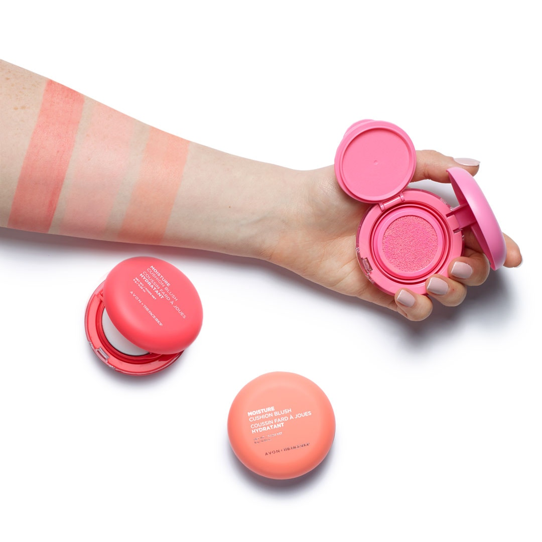 Our Moisture Cushion Blush creates a dewy, watercolor-like flush on cheeks. Just press the poof into the sponge compact to soak up the liquid, then apply to your cheeks for soft, natural color. Available in 3 shades.