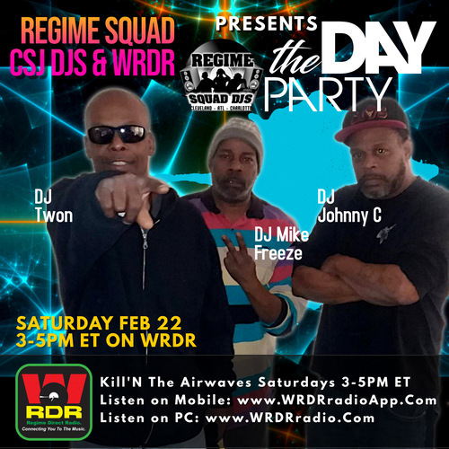 """It's """"The Day Party"""" hosted by the Regime Squad & The CSJ DJs this Sat Feb 22 @ 3PM ET on WRDR. Tune in! https://linktr.ee/WRDR  #djs #hiphop #music #producer #radio #wrdr #regimesquaddjs #rap #realdjs #listen #live  @RegimeSquad DJ Dizzi Dee Regime Squad DJSpic.twitter.com/4nAzuh8uzK"""