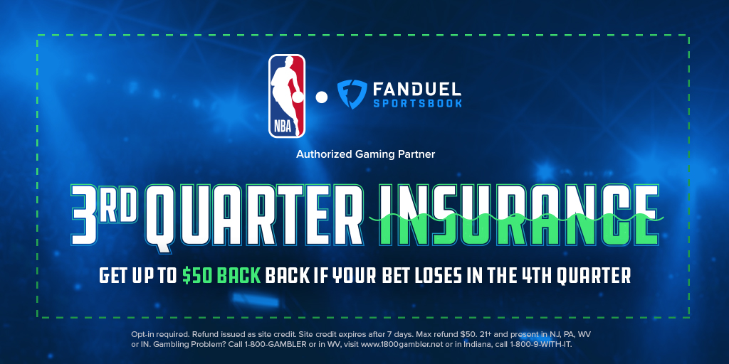 3rd Quarter Insurance 💰  Place a pregame moneyline bet on any NBA game. If your team is winning at the end of the 3rd quarter, but ends up losing, we'll refund you up to $50 in site credit! 🤑  🏀➡️ http://bit.ly/2tAvmWQ