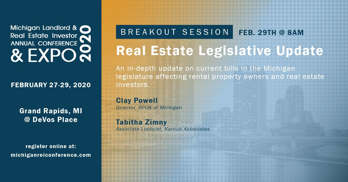 BREAKOUT SESSION: Real Estate #Legislative Update, February 29th @ 8:00 a.m. - An in-depth update on current bills in the #Michiganlegislature affecting #rentalproperty owners and #realestateinvestors.  Click here to register now: https://bit.ly/2HcfkFL?utm_campaign=coschedule&utm_source=twitter&utm_medium=RPOAKentCounty…pic.twitter.com/7lK75BjPYB