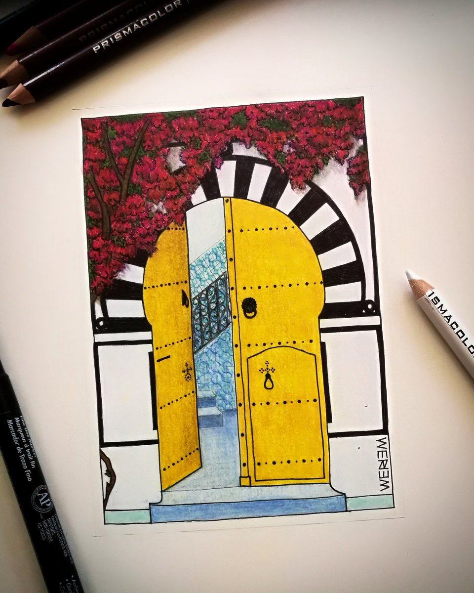 My last drawing, a custom order for a Tunisian/Belgium wedding card 🇹🇳🇧🇪 Ink and colored pencils. Traditional Tunisian door with bougainvillea tree.  #illustrator #door #flowers #northafrica #tunisia #artist #weriem #drawing #illustration #ink #pencil