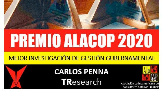 🏆¡GANAMOS! Premio a la Mejor investigación de gestión gubernamental.Los reconocimientos más importantes de la comunicación política, otorgados por los mejores consultores de Latinoamérica #PremiosALaCop2020 @AlacopLatam @CarlosPennaC @TResearchMx