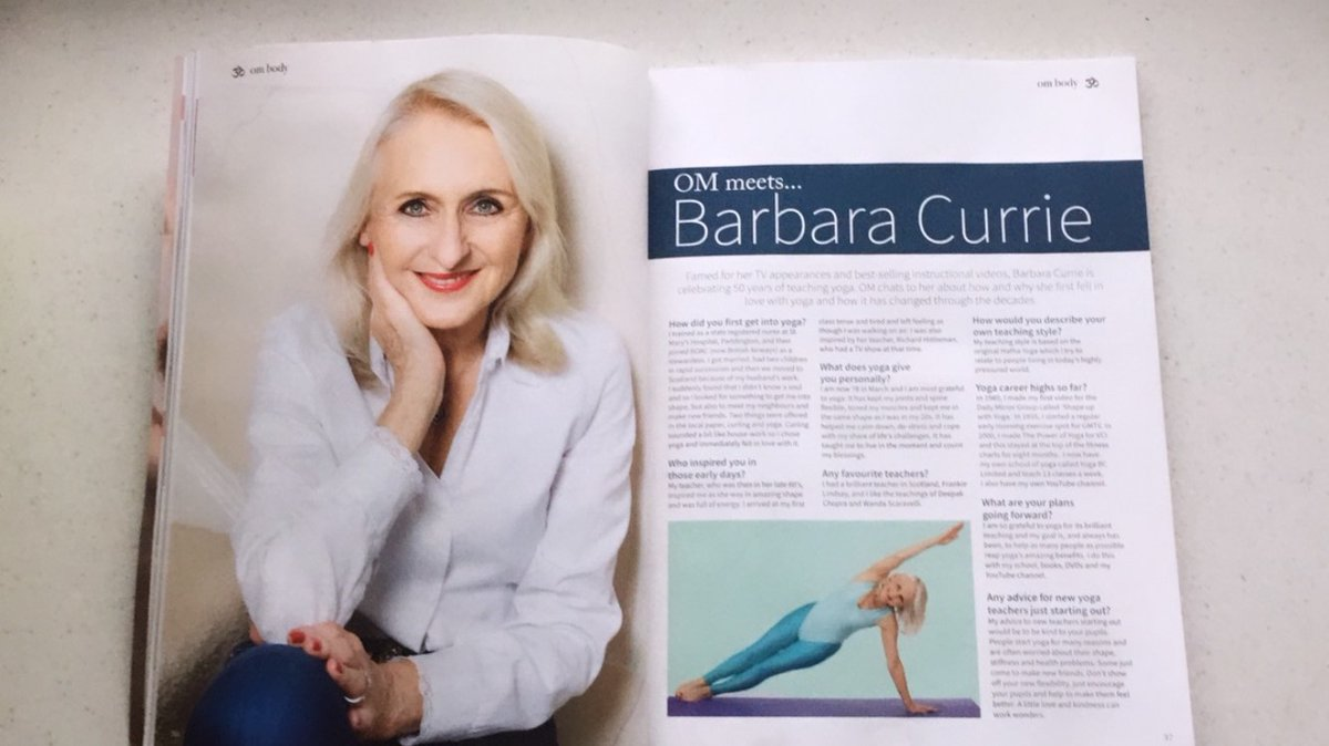 Not only was a three page spread devoted to #BarbaraCurrie, she was also featured on the cover! Only the best for the famed 'Godmother of Yoga' 😍 Thank you @OMYogaMagazine for this wonderful interview to commemorate her 50 years as a yoga expert in the March issue #50yearsofYoga https://t.co/C8ALb6QTkn