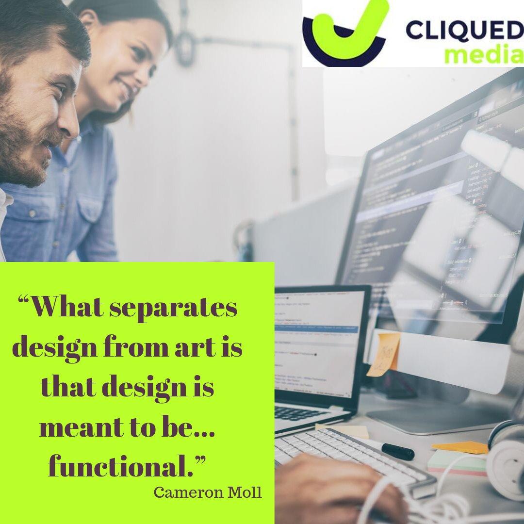 """What separates design from art is that design is meant to be... functional."" ~ Cameron Moll #webdesign #graphicdesigner #ux #ui #webdeveloper #websitedesign #website #mycreativebiz #dublin #ireland https://soo.nr/HpdPpic.twitter.com/BZyK1oxU2w"
