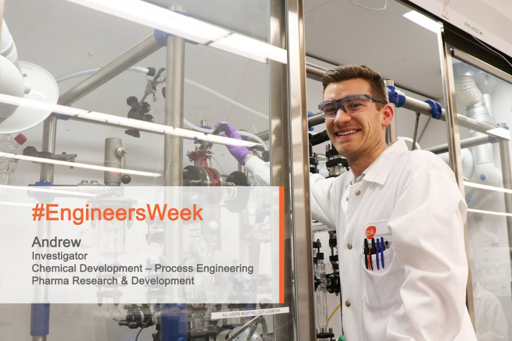 In high school, Andrew's interest in math & chemistry was a natural path to #chemicalengineering. His team figures out how to develop & scale up chemical processes in the lab to systems that can work at a factory to make our medicines.   #EngineeringWeek #eWeek #STEM https://t.co/5dRSimBM8X