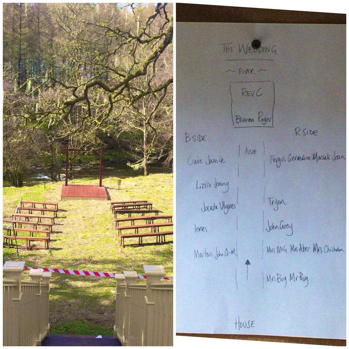 Almost a year ago - 1st rough seating plan for the wedding of the year, 1771. ❤️🎬🎥🏴🎂☀️ #Outlander #OutlanderS5 #weddingplanner