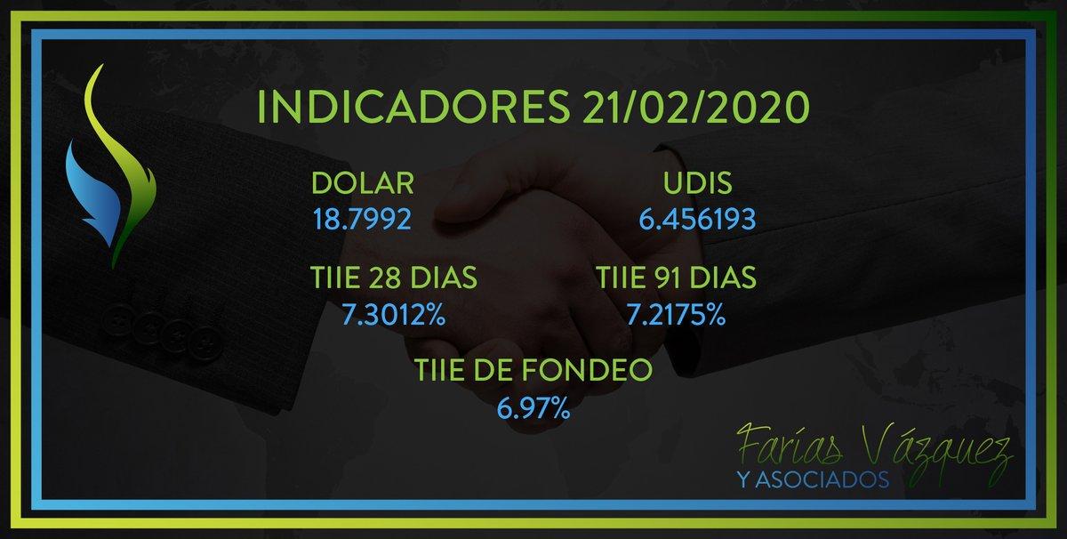 #INDICADORESFISCALES #TipodeCambio y #Tasas al 21/02/2020 de acuerdo con el Diario Oficial de la Federación #DOF👇