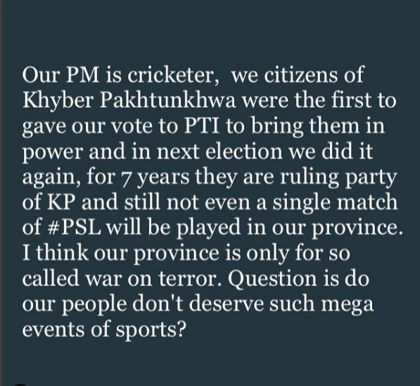 Like the other cities we (people of kpk) also have the passion of watching national & international cricket in our cities.. Our provincial government must take some step on this... #PSL5ComesPakistan  #PSL2020  #PSLV  #PSL5