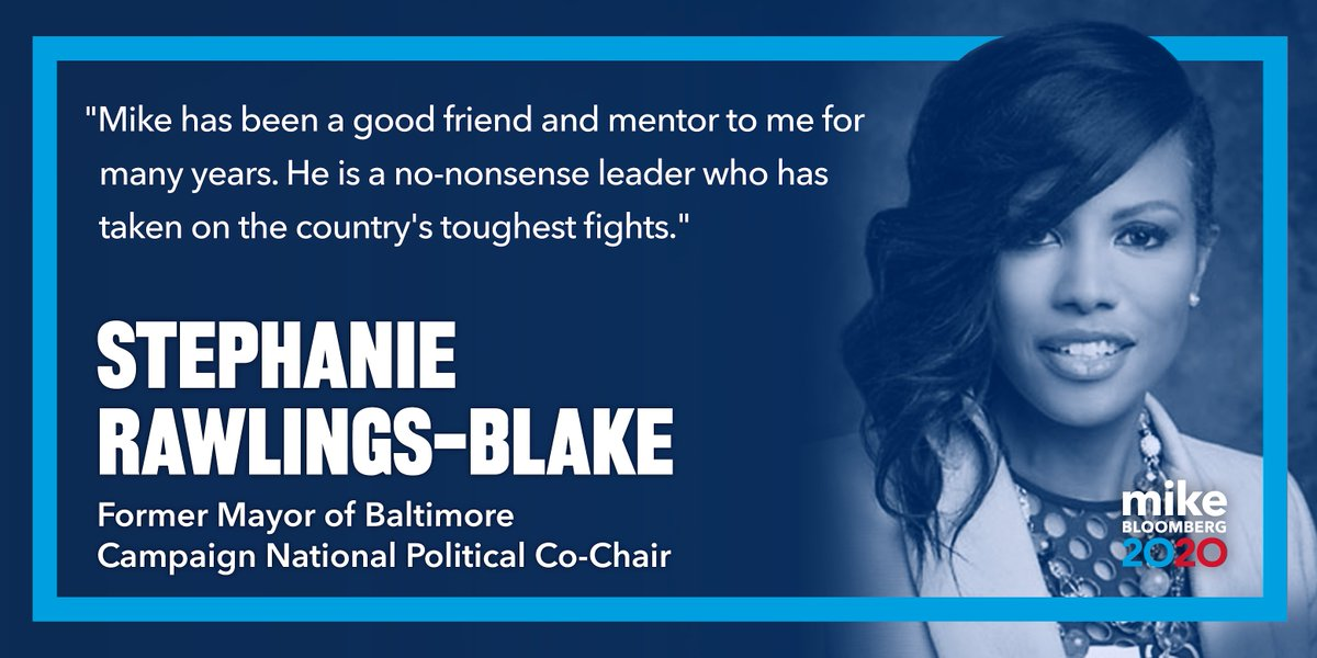Former Baltimore Mayor Stephanie Rawlings-Blake has never backed down from a tough fight.   We've worked together on issues like common sense gun safety laws. I look forward to working together to defeat Trump & rebuild America.   I'm honored to have @MayorSRB's support.