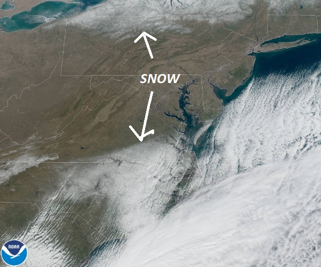 Clear skies today are giving us a good view of where the snow cover is! #pawx #ncwx #vawx