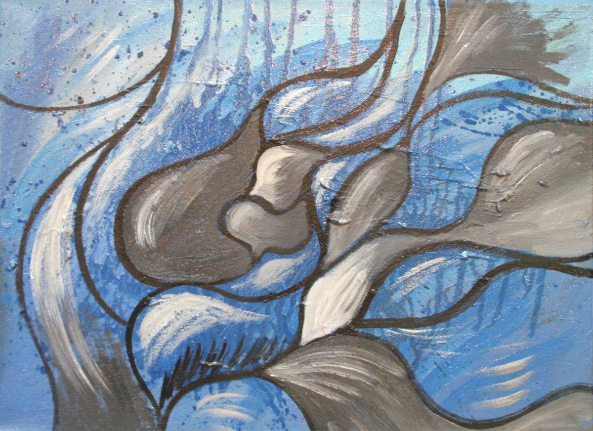 Fish; canvas, oil; 2019 year 30 x 40 centimeters; 11.811 x 15.748 inches  #Fish #blue #art #painting #gray #aquarium #smallartwork #artwork #texture #modern #modernart #ArtistOfTheDay #sale #collection #abstract #gray #abstractart #SaatchiArt @SaatchiArt