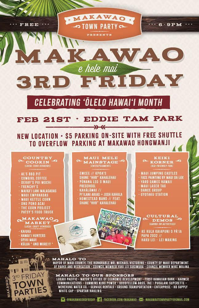 """Come celebrate the reinvented #Makawao 3rd Friday tonight February 21st at Eddie Tam Park from 6-9pm! This free 'Ohana event will have: """"Maui Mele"""" Hawaiian music, locally made products, local food, a """"keiki corner"""" and more! @MauiFridays : https://t.co/KS1nxCioO0 #Maui https://t.co/qeM0t7aYJw"""