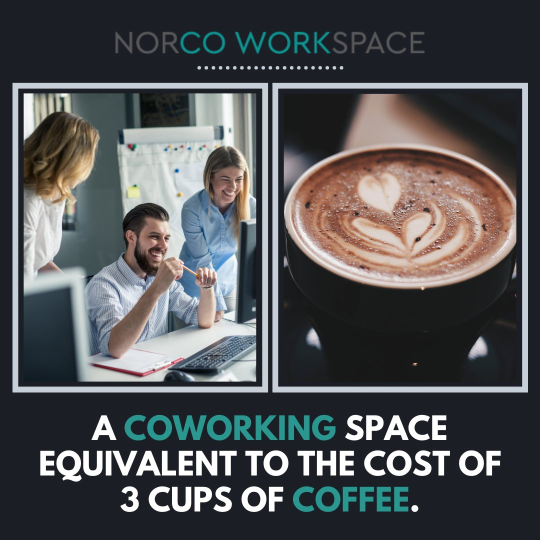 A full-day of coworking space to collaborate at the price of 3 coffee and 2 Starbucks! . #coworking #coworkingspace #norcoworkspace #meetingrooms #meetingspace #conferenceroom #privateoffice #nws #norco #corona #riverside #sharedworkingspacepic.twitter.com/pQYdGgquOr