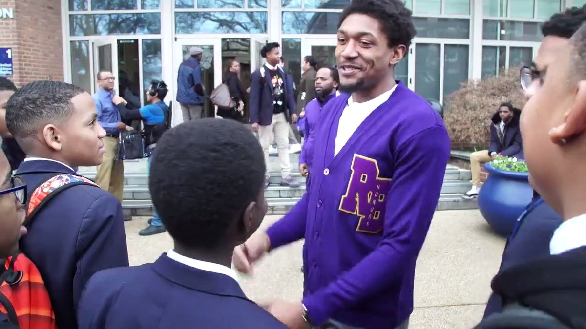 """I just want to try to prepare them and get them ready for the next level.""  @RealDealBeal23 took students from @RBHSMonarchs on a college tour at Howard University.  #WizCares 