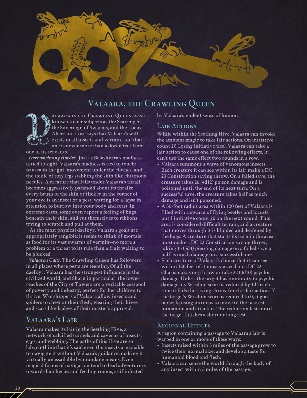 Valaara, the Crawling Queen, color layout