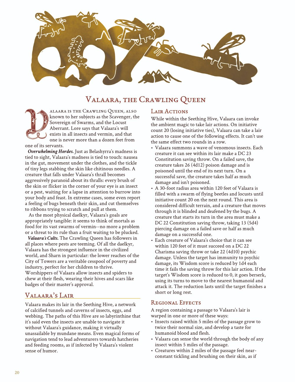Valaara, the Crawling Queen, printer friendly layout