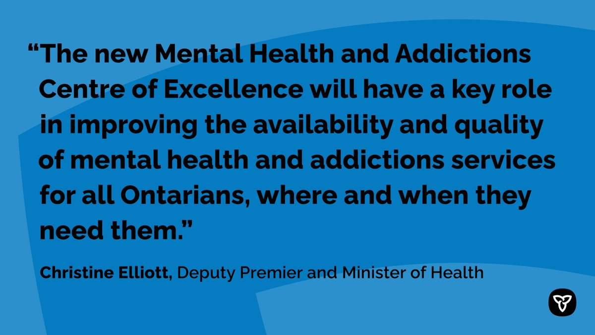 #ICYMI, Ontario has established a #MentalHealth and Addictions Centre of Excellence to build healthier communities and help end hallway health care. http://news.ontario.ca/m/55843