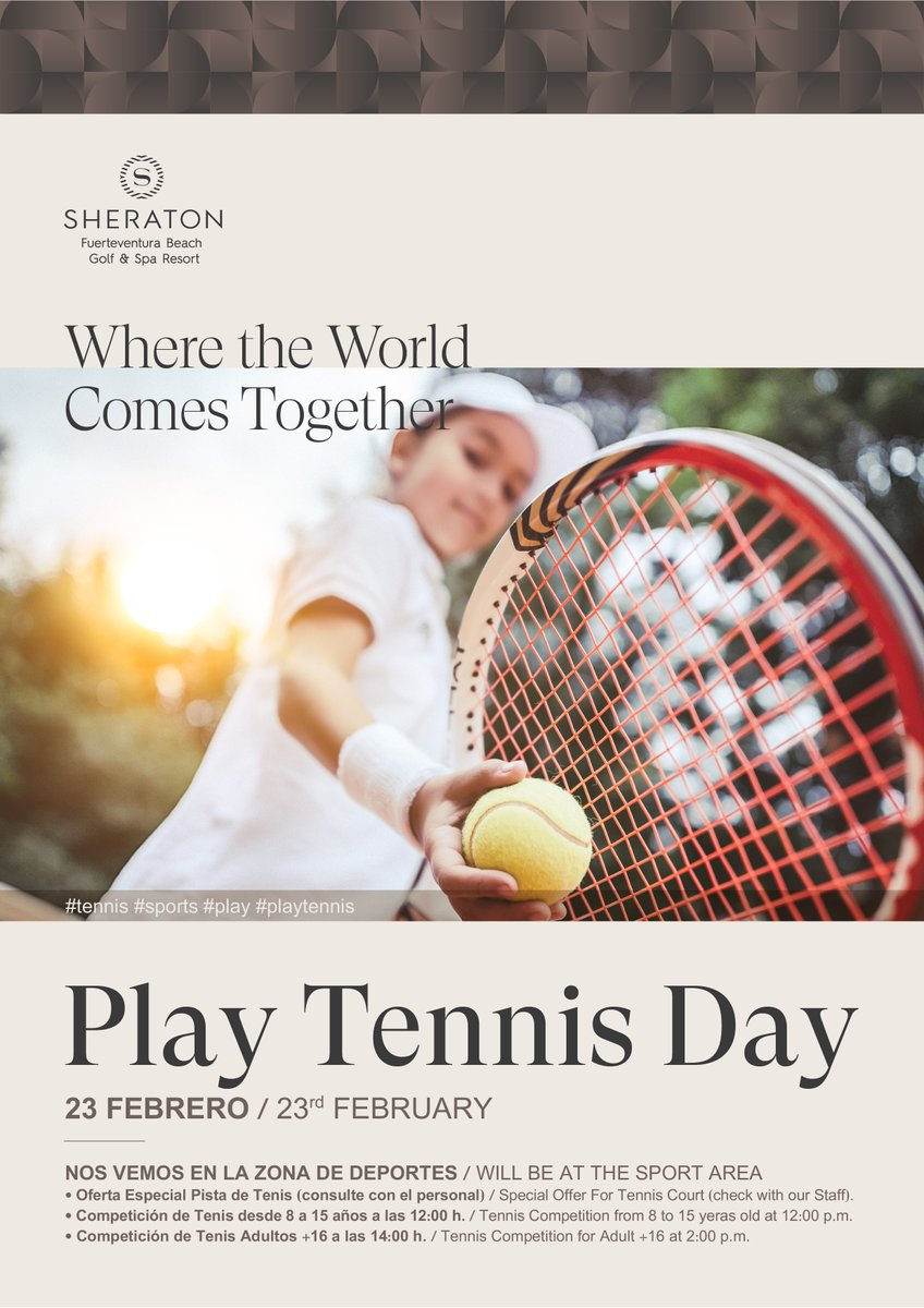 For #Tennis fans, children and adults, a preview of the event that will take place at #Sheratonfuerteventura this Sunday, February 23. We will meet you at the #Sport area. #fun #CaletaDeFuste #Fuerteventura #competicion #competitionpic.twitter.com/k2BgvhfUbz