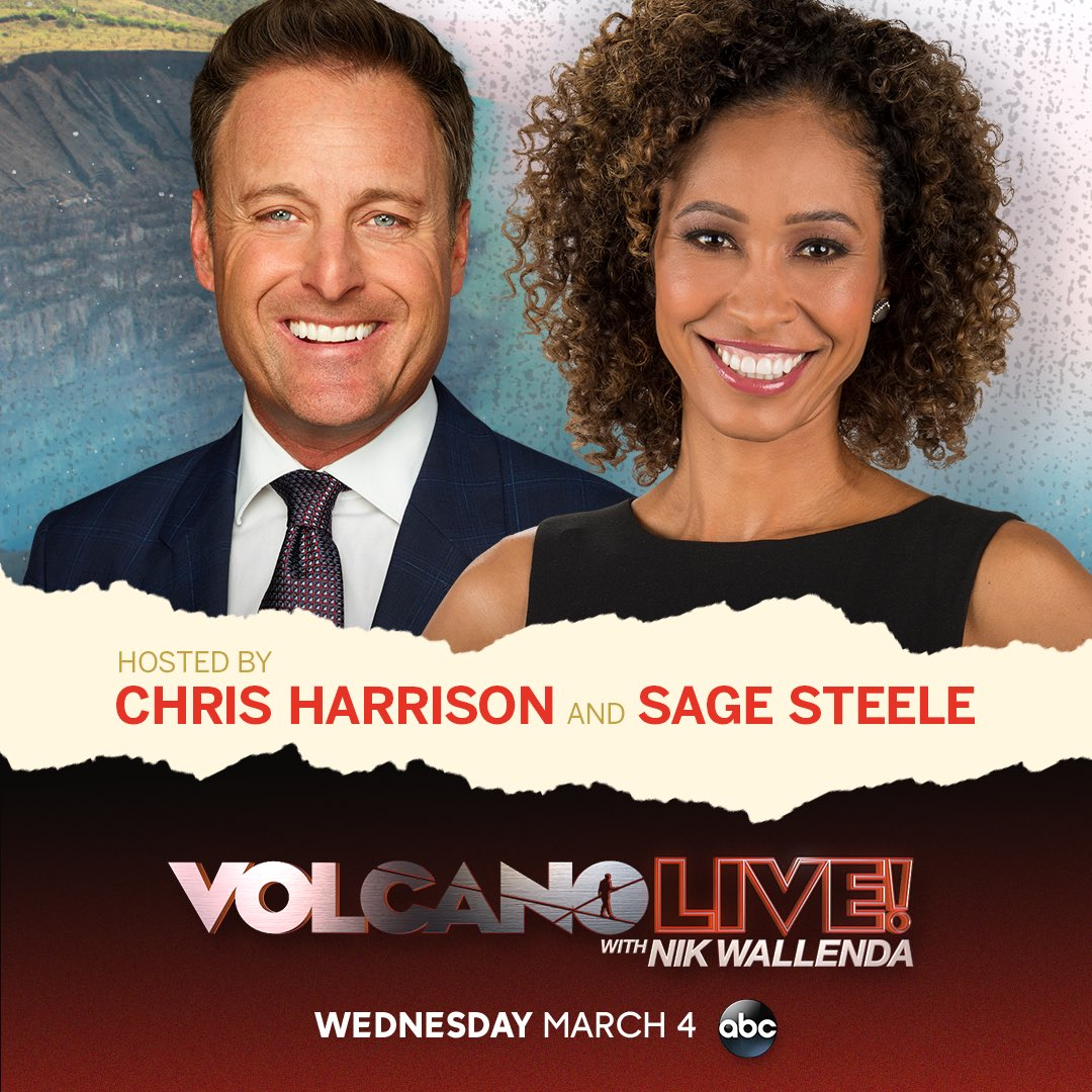 Get ready to witness one of the greatest highwire walks of all time! I'll be hosting #VolcanoLivewithNikWallenda from Nicaragua with the one and only @sagesteele. Don't miss @nikwallenda conquer his highwire walk over the active Masaya Volcano, March 4 at 8/7c on ABC.